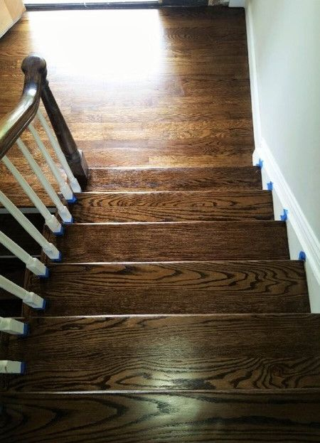 new dark wood stairs